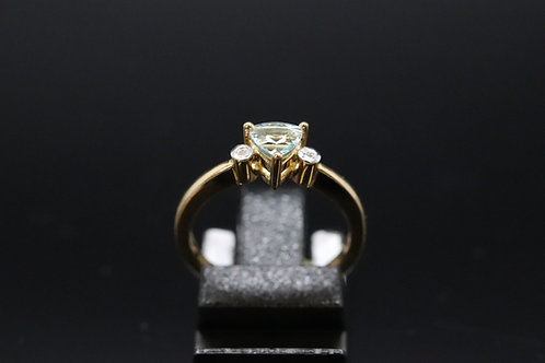 Solid Gold Aquamarine & Diamond Ring