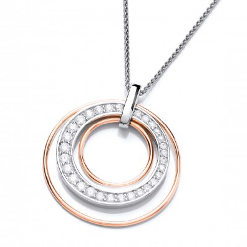 Round Rose Gold and Sparkles Pendant without chain