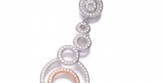 Rose Gold and Cubic Zirconia Drop Circles Pendant without chain