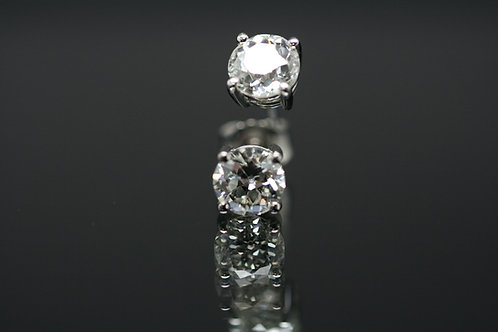 Old Cut Diamond Earrings total Diamond weight 2.38ct