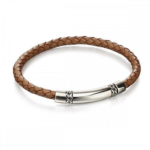 FRED BENNETT Tan Leather Chain Detail Bracelet