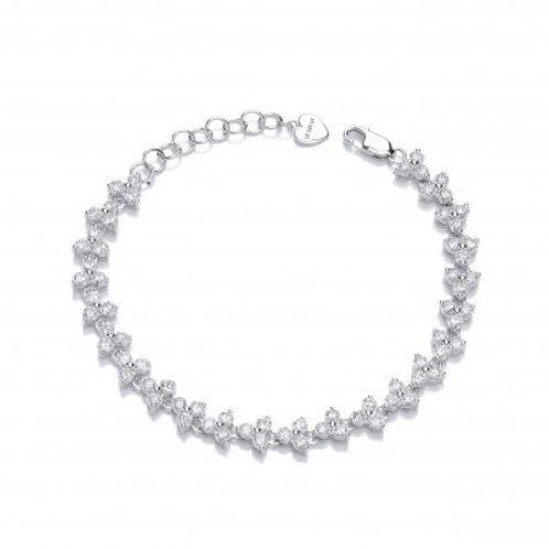 Silver and Double CZ Row Bracelet