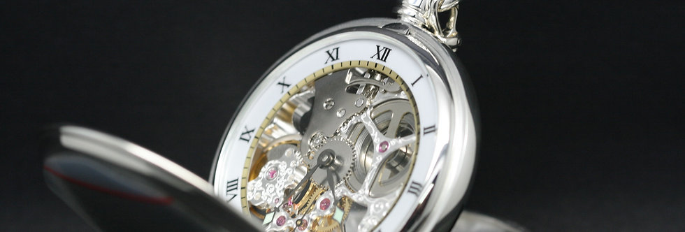 Solid silver mechanical pocket watch