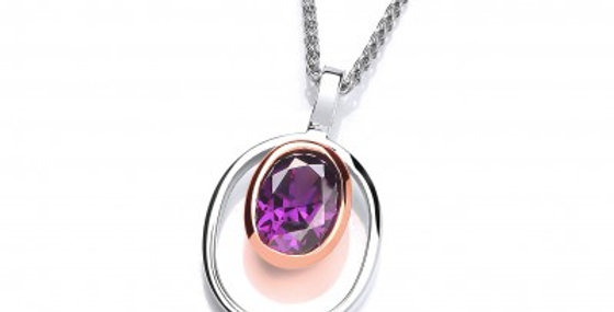 Silver and Amethyst CZ Rennie Mackintosh Style Pendant without Chain