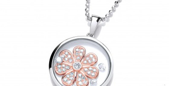 Celestial Silver and Rose Gold Daisy Pendant without Chain