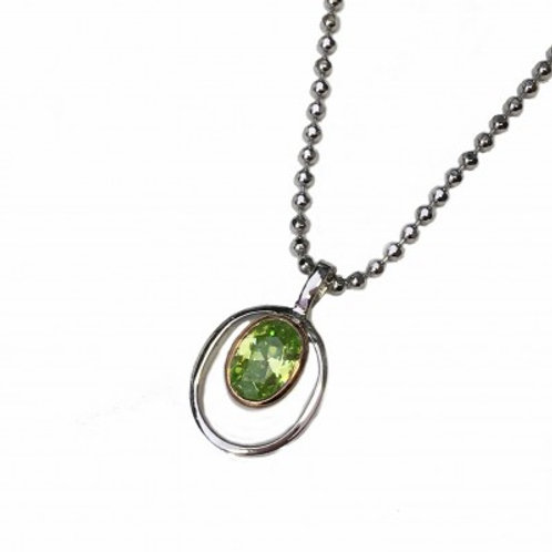 Silver and Peridot Green CZ Rennie Mackintosh Style Pendant without Chain