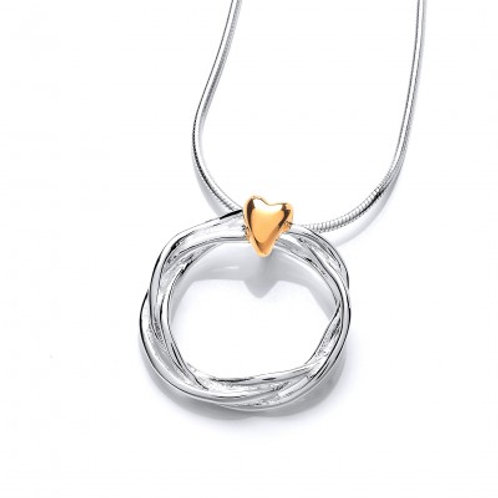 Silver and gold vermeil heart and wreath pendant without Chain