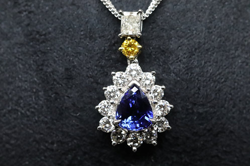 18ct White Gold Sapphire and Diamond Teardrop Cluster on Double Chain