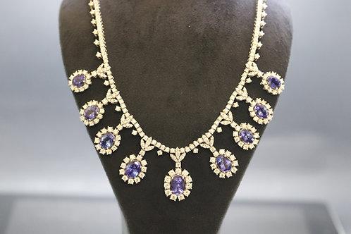 Exquisite 25ct Diamond and Tanzanite Necklace