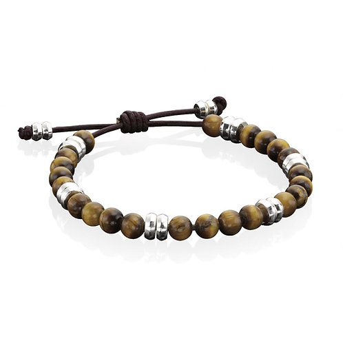 Fred Bennet Silver & Brown Leather and Tiger Eye Beads Bracelet