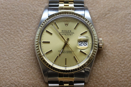 Gents Rolex Datejust 18ct Gold and Steek