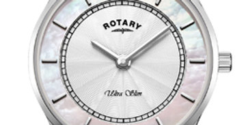 Rotary Ultra Slim White Stainless Steel Watch