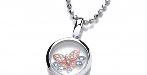 Celestial Silver and Rose Gold Mini Butterfly Pendant without chain