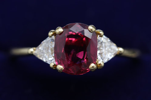 Natural Certified Ruby and Diamond Ring in 18ct Yellow Gold