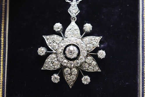 Rare Handmade Platinum Old Cut Diamond Brooch/Pendent in Original Box