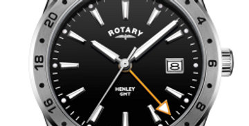 Rotary Gents Stainless Steel Black Dial GMT Henley
