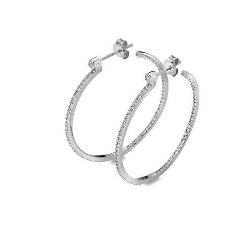 White Topaz Hoop Earrings - Large