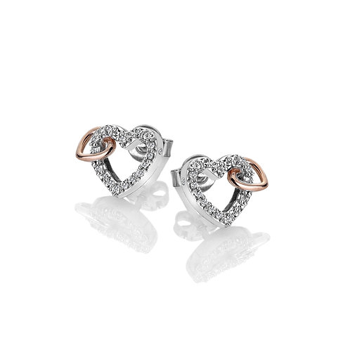 Togetherness Open Heart Earrings - Rose Gold Plate Accents
