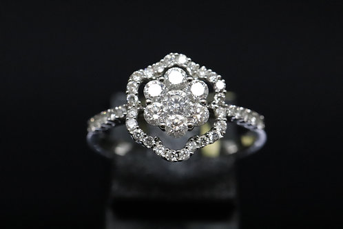 Flower Halo Diamond Ring with Diamond Shoulders