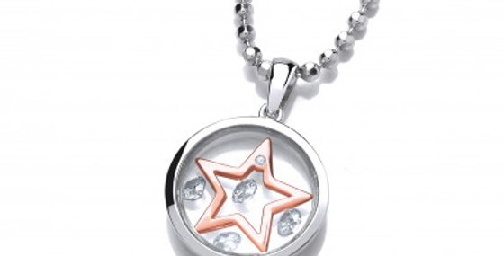 Celestial Silver and Rose Gold Mini Shooting Star Pendant without chain