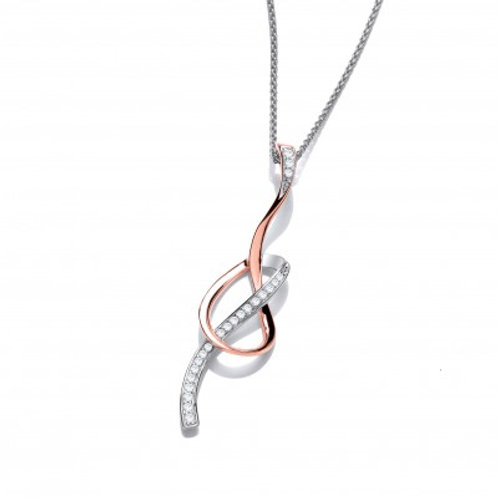 CZ, Rose Gold and Silver Ribbon Pendant without Chain