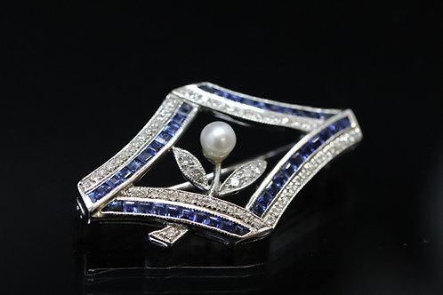 Sapphire, Diamond & Pearl Brooch