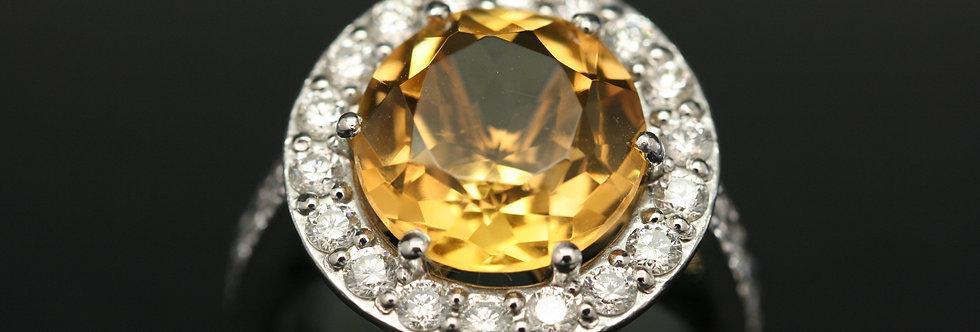 Platinum Diamond and Citrene Halo Ring