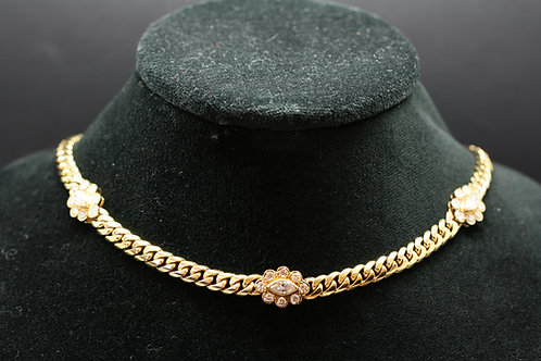 Solid 18ct Gold and Diamond Chain