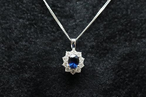 Sapphire & Diamond Cluster Pendant on 18k White Gold Chain