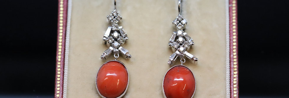 Diamond and Coral Earrings