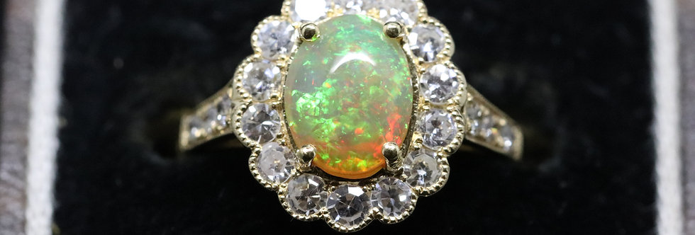 18ct Yellow Gold Ethiopian Opal and Diamond Ring