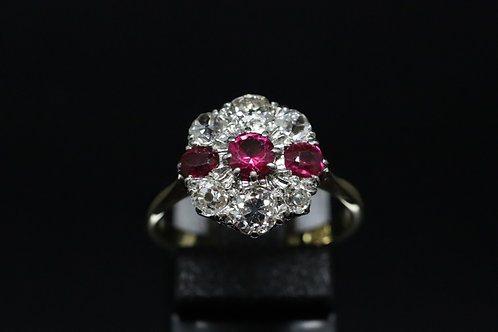 Ruby and Old Cut Diamond Cluster