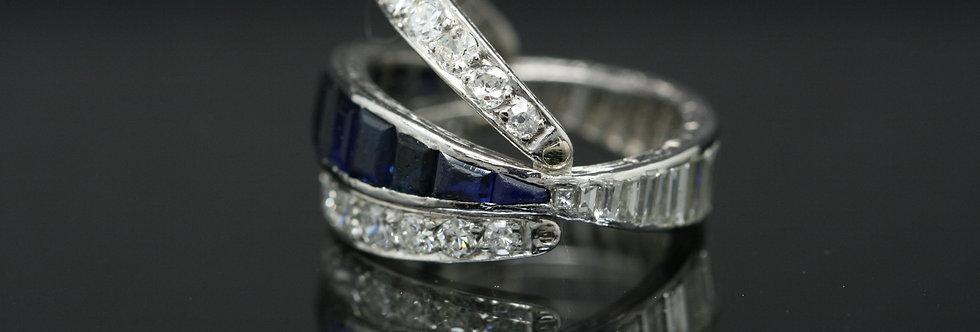 Vintage Platinum Sapphire and Diamond Flip ring