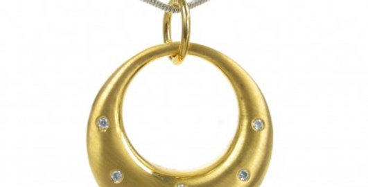 Gold vermeil and CZ eclipse moon pendant without Chain