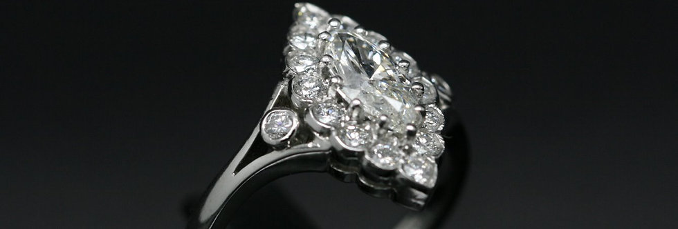 Platinum 'Marquise Cut' Diamond Cluster