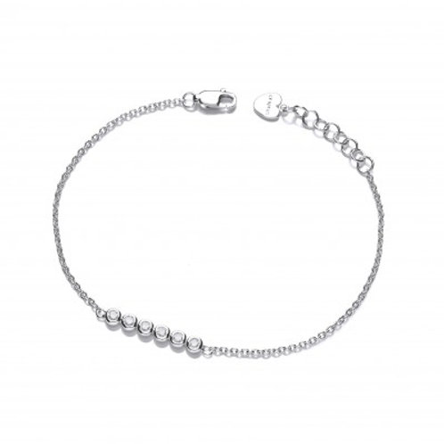 Silver and CZ Bubble Row Bracelet