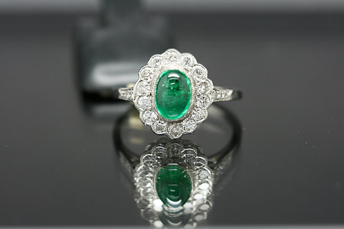 Platinum Cabochon Cut Emerald and Diamond Cluster Ring