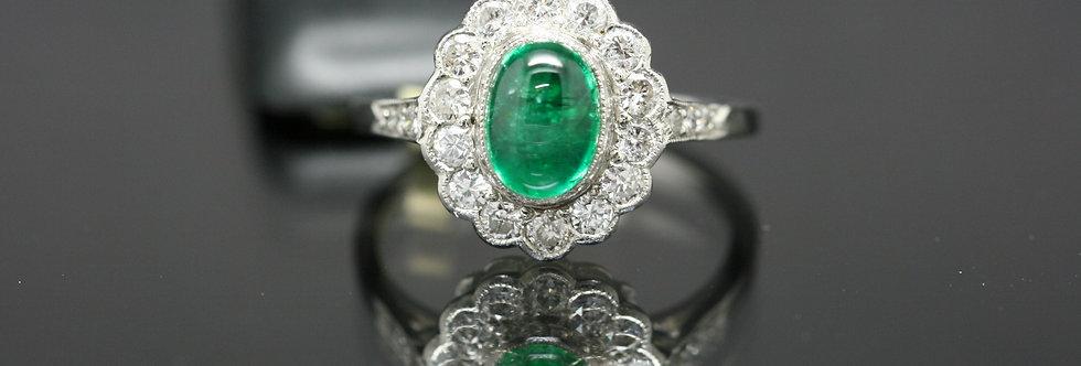 Platinum Cabochon cut Emerald and Diamond cluster ring