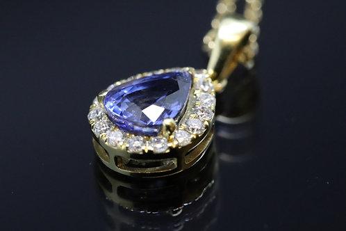 18ct Yellow Gold Sapphire and Diamond Teardrop Pendant