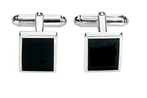 Fred Bennett Black Agate & Sterling Silver Square Cufflinks