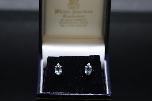 Oval Aquamarine & Diamond White Gold Earring Studs