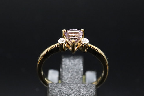 Solid Gold Amethyst & Diamond Ring