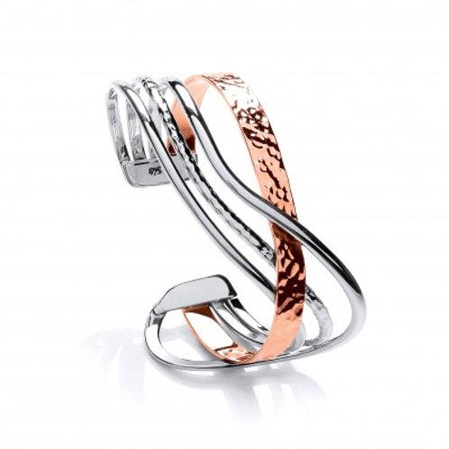 Sterling Silver and Copper Super Wave Cuff Bangle