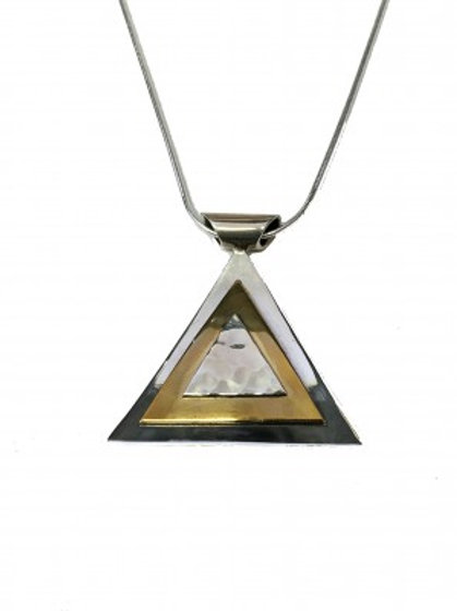 Silver Golden Pyramid Pendant without Chain
