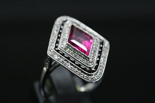 18ct White  Gold Art Deco Diamond, Onyx And Pink Sapphire Cluster