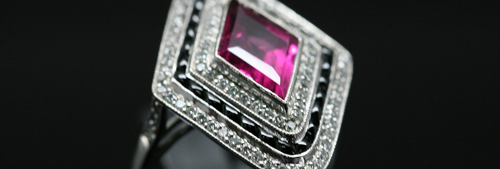 18ct WhiteGold Art Deco Diamond, Onyx And Pink Sapphire Cluster
