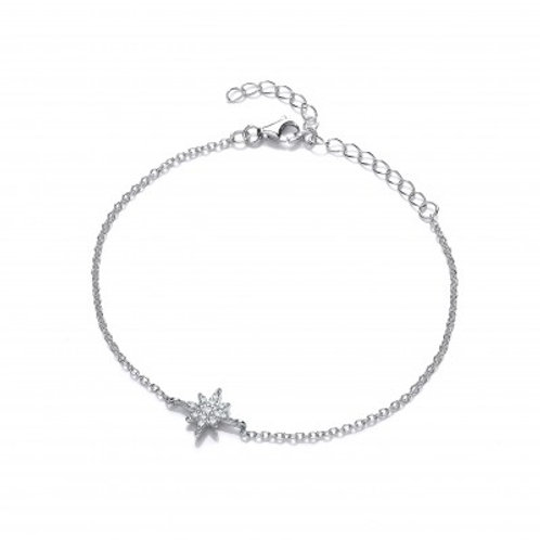 Silver and CZ Brilliant Star Bracelet