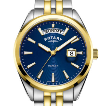 Rotary Gents Two Tone Gold PVD Blue Dial Henley