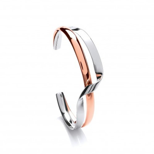 Sterling Silver and Copper Double Twist Cuff Bangle