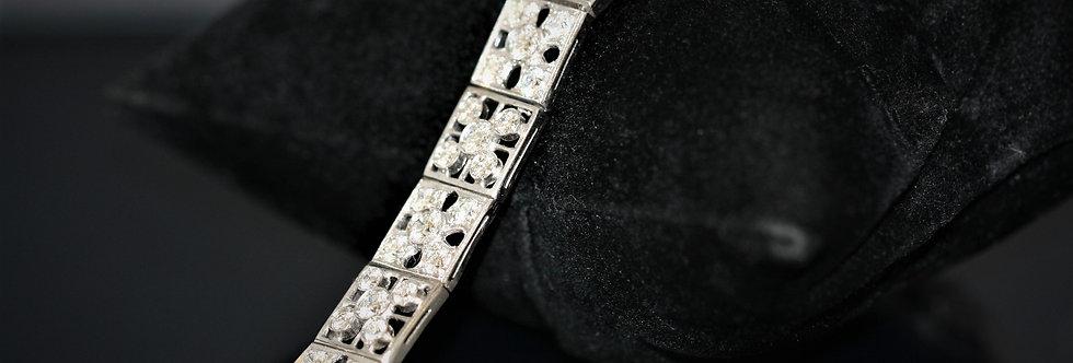 Secondhand Art Deco 18ct White Gold Filigree Diamond Bracelet